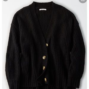 Black oversized button up cardigan